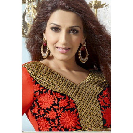 RCPC - Sonali Bendre Salwar Suits - Orange Faux Georgette Anarkali Suits Pakistani Style - Ram Chand Punam Chand - rang