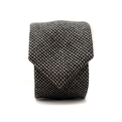 Neck Tie in Grey Houndstooth Wool