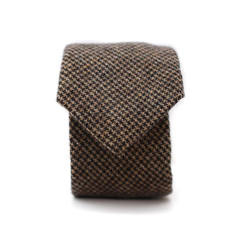 Neck Tie in Brown Houndstooth Wool