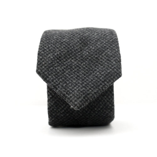 Neck Tie in Charcoal Houndstooth English Wool