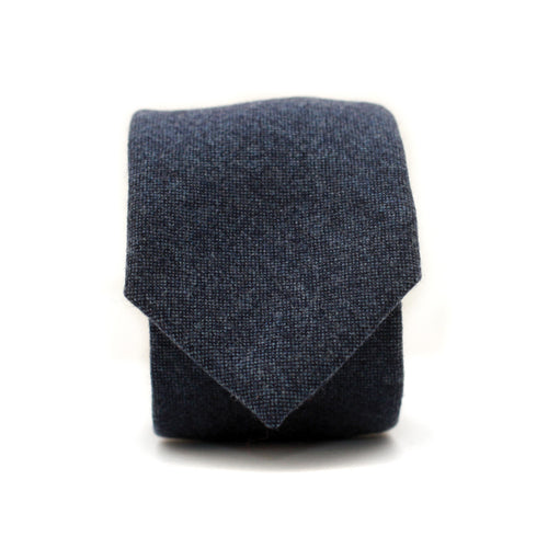 Neck Tie in Heathered Navy Wool