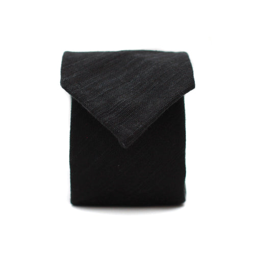 Neck Tie in Black Japanese Cotton