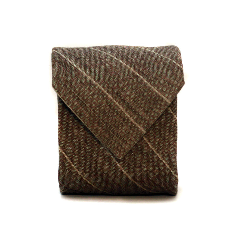 Neck Tie in Desert Brown Striped Linen