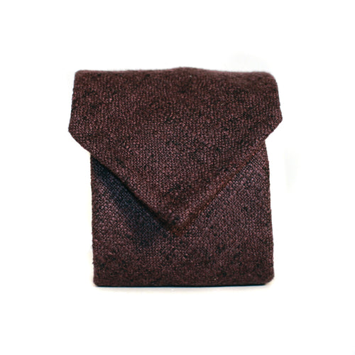 Neck Tie in Burgundy Cashmere/Silk Tweed
