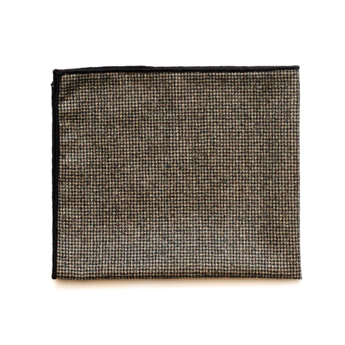 Pocket Square in Brown Houndstooth English Wool