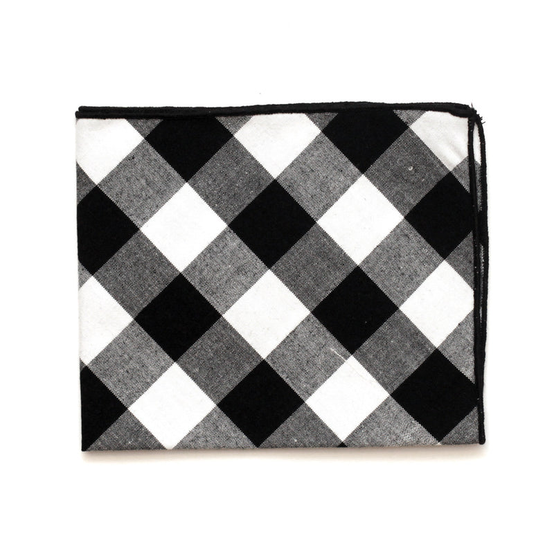 Pocket Square in Black Gingham Soft Cotton