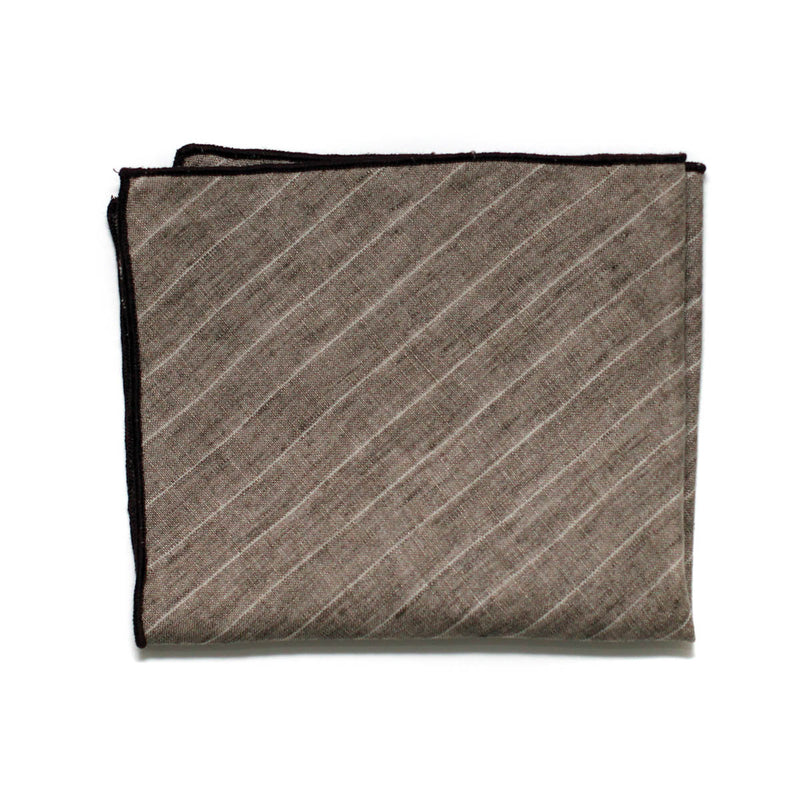 Pocket Square in Desert Brown Striped Linen