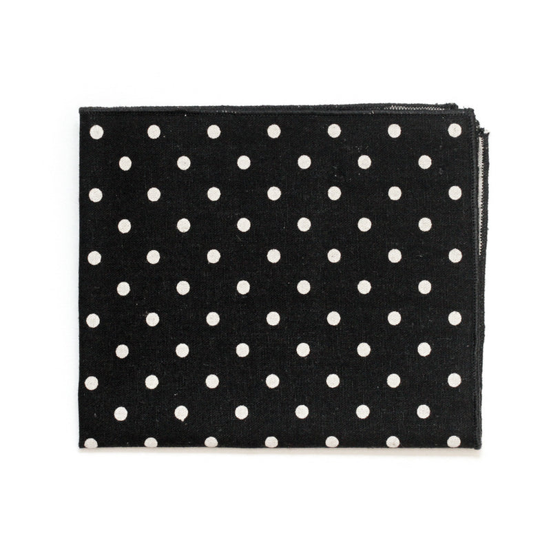 Pocket Square in Black Polkadot Japanese Cotton