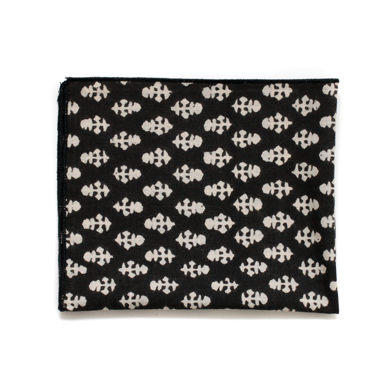 Pocket Square in Black Batik Spade