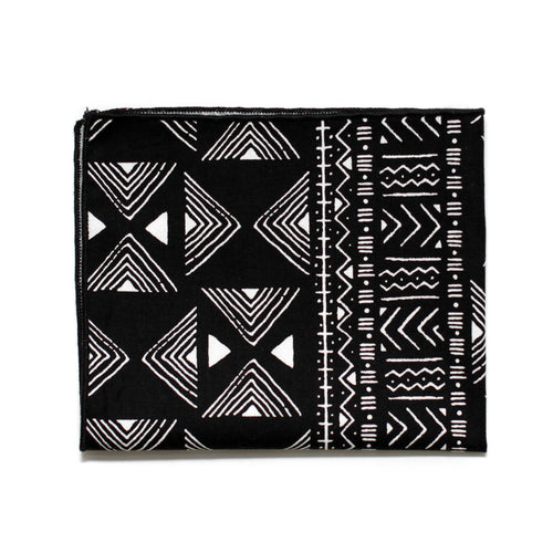 Pocket Square in Black & White Bogolan Cotton