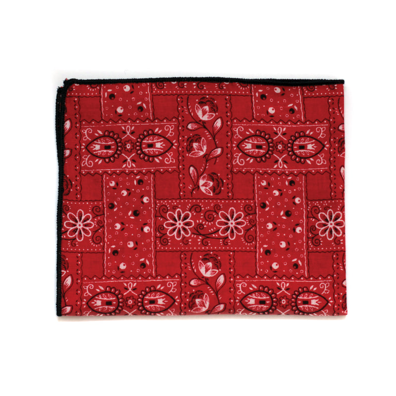 Pocket Square in Red Japanese Paisley