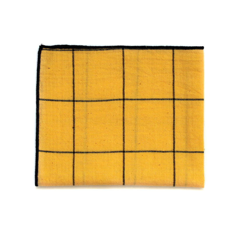 Pocket Square in Yellow Grid Indian Cotton
