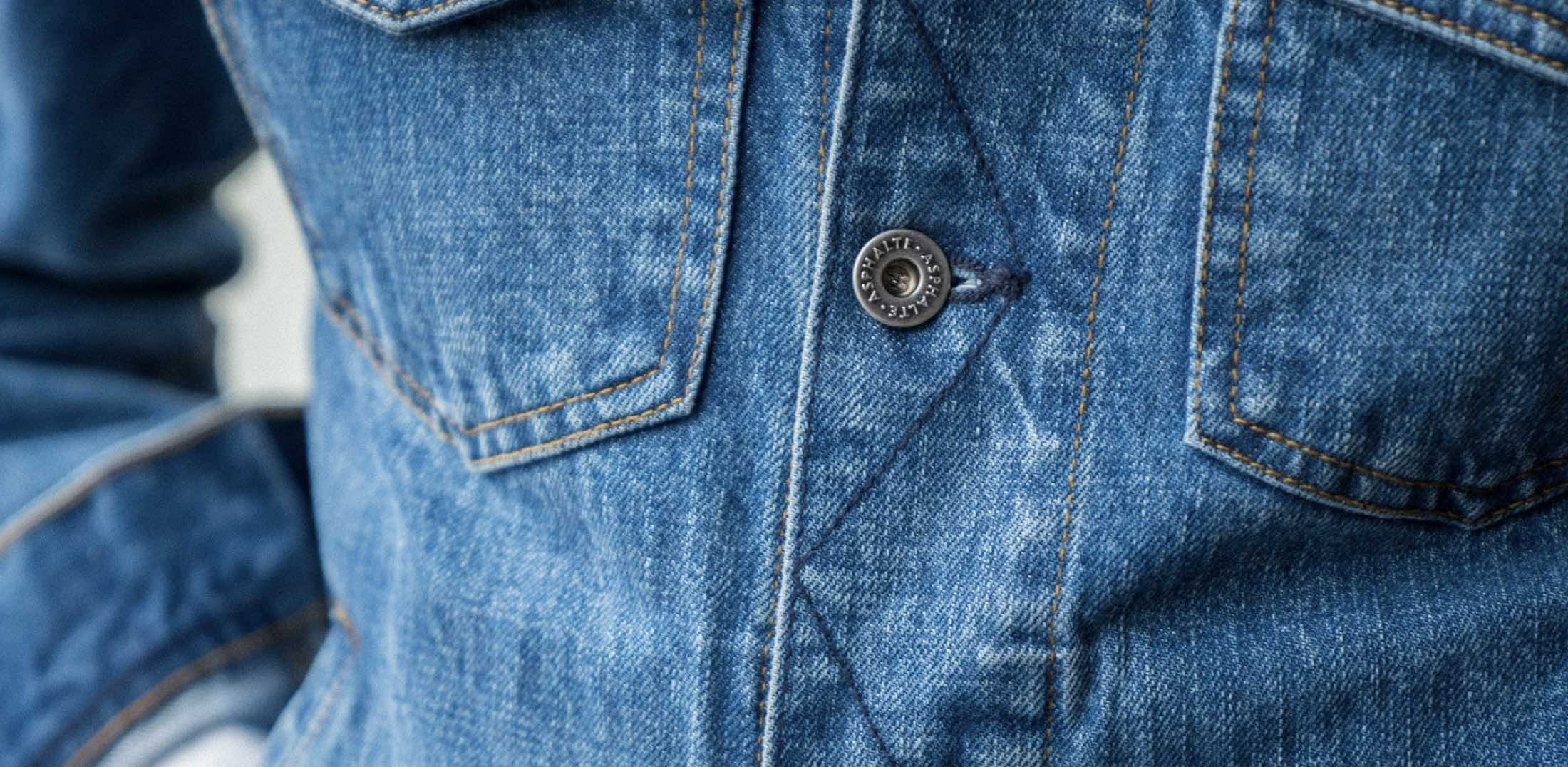 Asphalte Veste en Denim toile Stone close-up