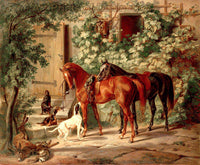 Albrecht Adam - Horses at the Porch Fine Art Print