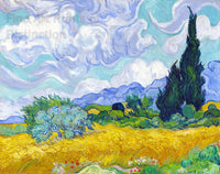 Van Gogh Vincent - Wheat Fields with Cypress Trees Fine Art Print