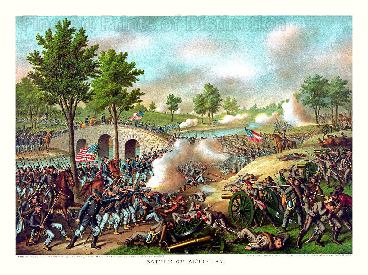Antietam Civil War Battle by Kurz and Allison in 1888