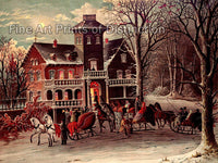 Surprise Party Going to a Party on Horse and Sleds Fine Art Print