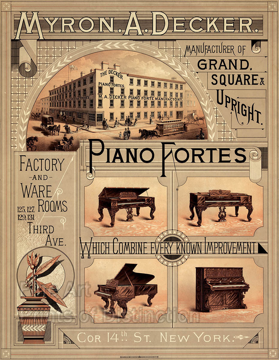 Myron A. Decker Piano Forte Advertising Print