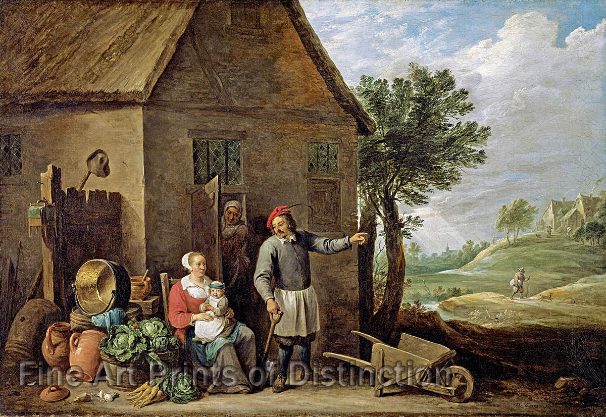 Peasant Family in Front of Farmhouse by David Teniers the Younger Art Print
