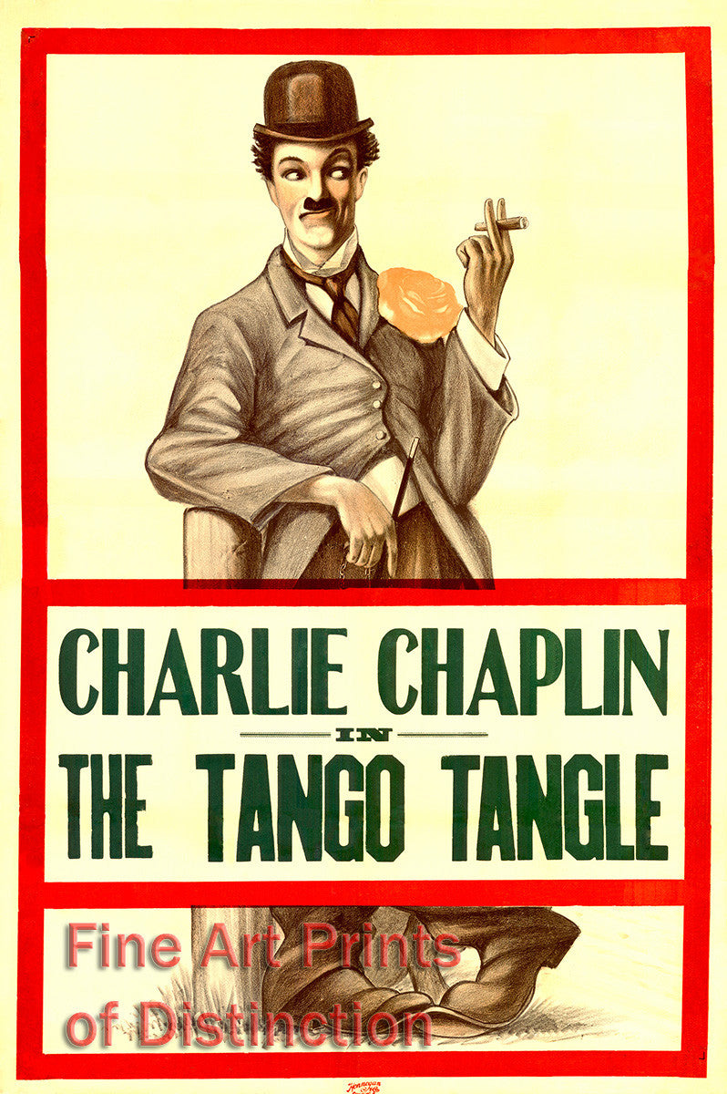 Tango Tangle Movie Poster starring Charlie Chaplin and Fatty Arbuckle