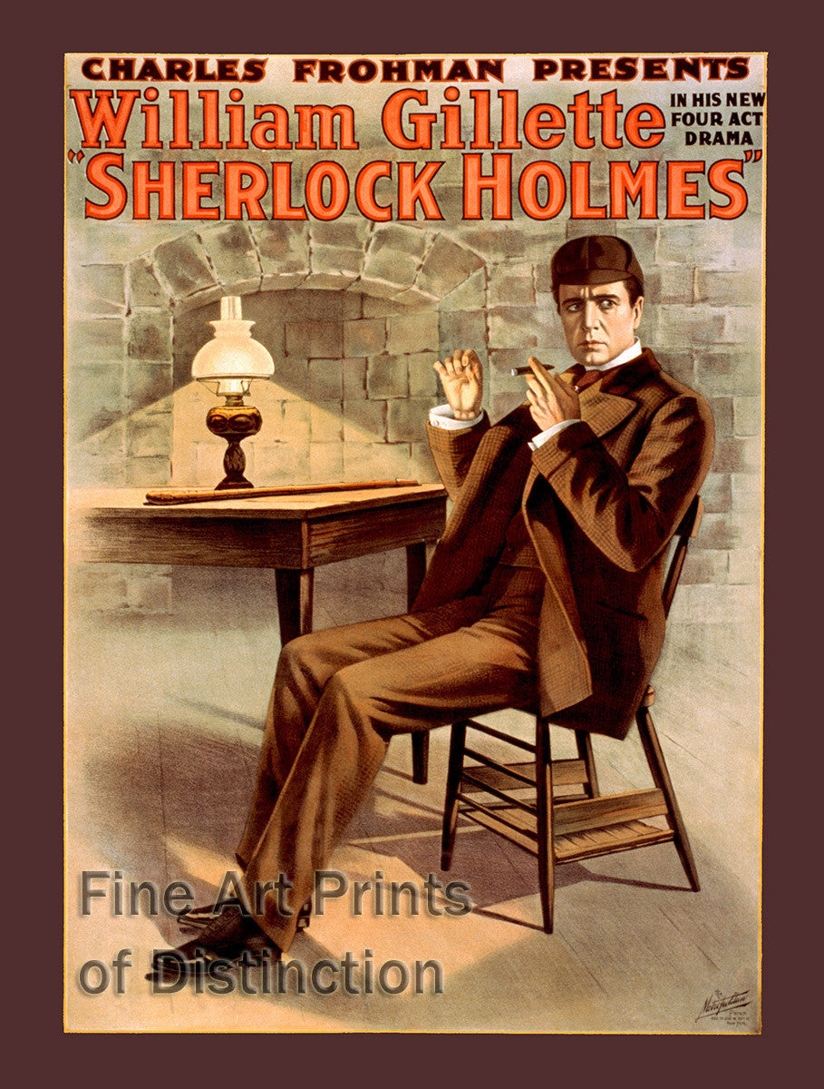 Sherlock Holmes starring William Gillette Theater Poster