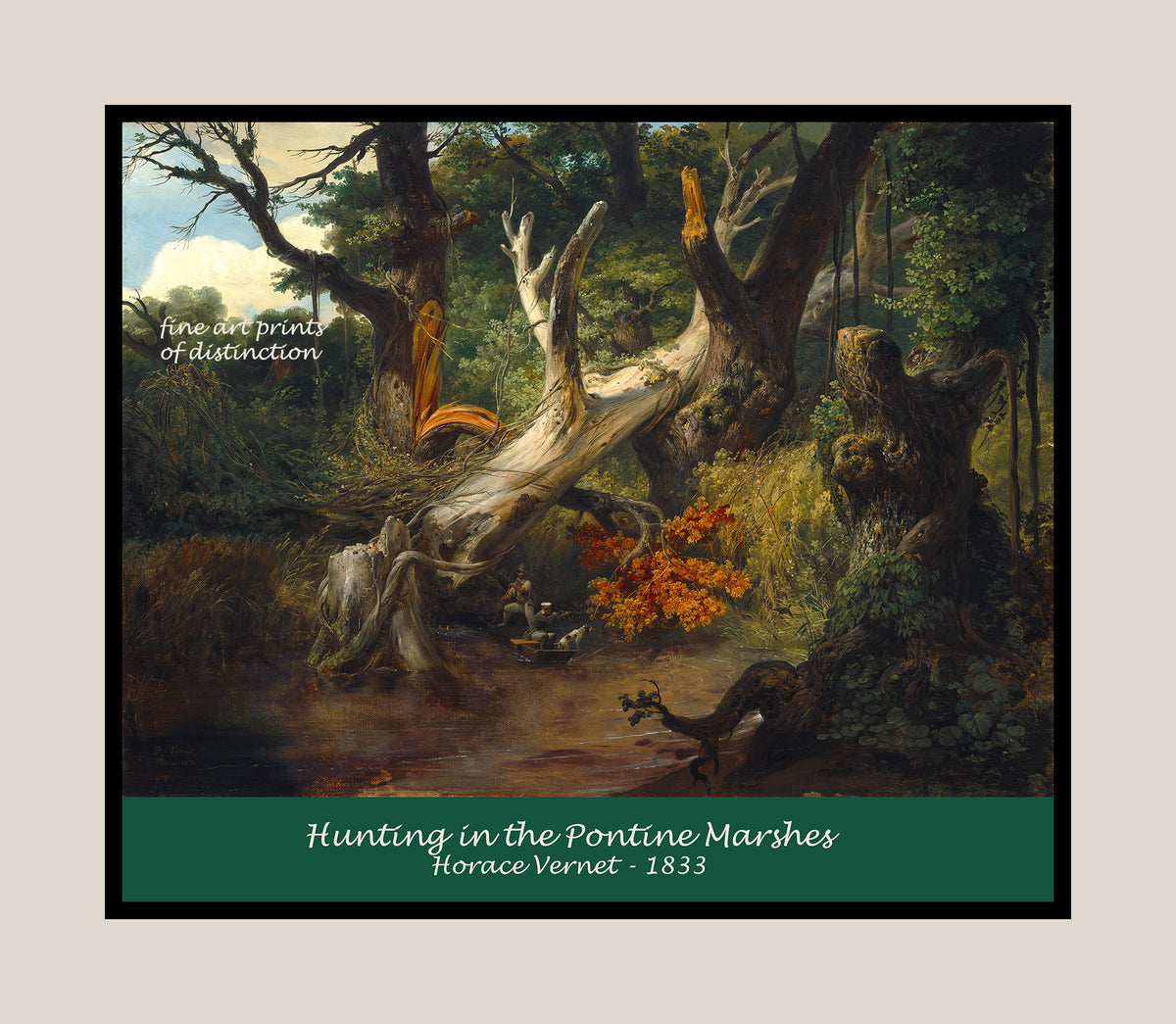 Hunting in the Pontine Marshes painted by Horace Vernet Premium Poster