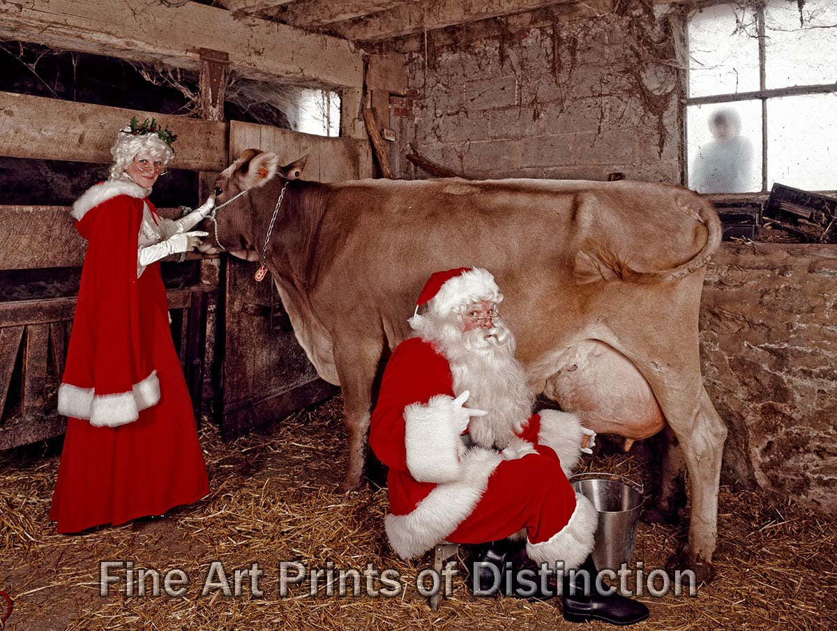 Santa Clause Milking a Cow Fine Art Print