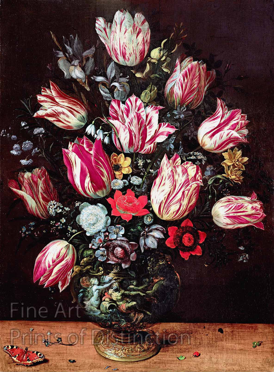 Vase With Tulips painted by Andries Daniels