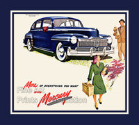 Blue Ford Mercury Eight from 1947 Year of Manufacture Art Print