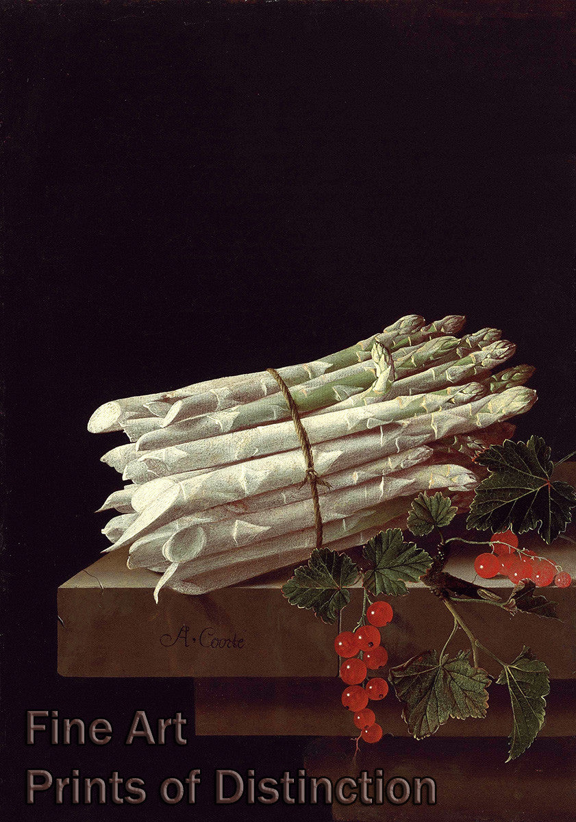 Asparagus and Red Currants on Stone Ledge by Adriaen Coorte Art Print