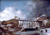Winter Landscape with Wooden Bridge, painted by Philips Wouwerman Art Print