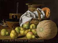 Still Life with Melon and Pears by Luis Melendez