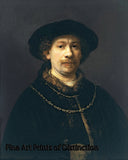 Self Portrait Wearing a Hat and Two Chains by Rembrandt