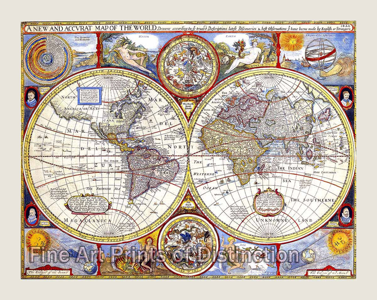 New Map Of Earth.1626 A New And Accurate Map Of The World By John Speed Brandywine