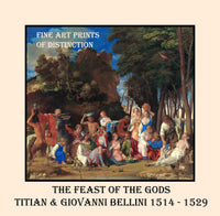 The Feast of the Gods by the artists Titian and Giovanni Bellini Premium Poster