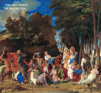 The Feast of the Gods by the artists Titian and Giovanni Bellini Premium art print