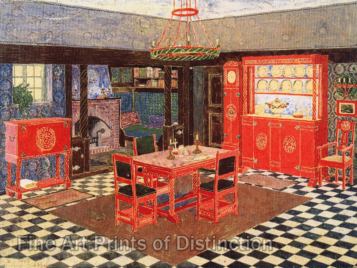 Design For A Dining Room By Heinrich Vogeler