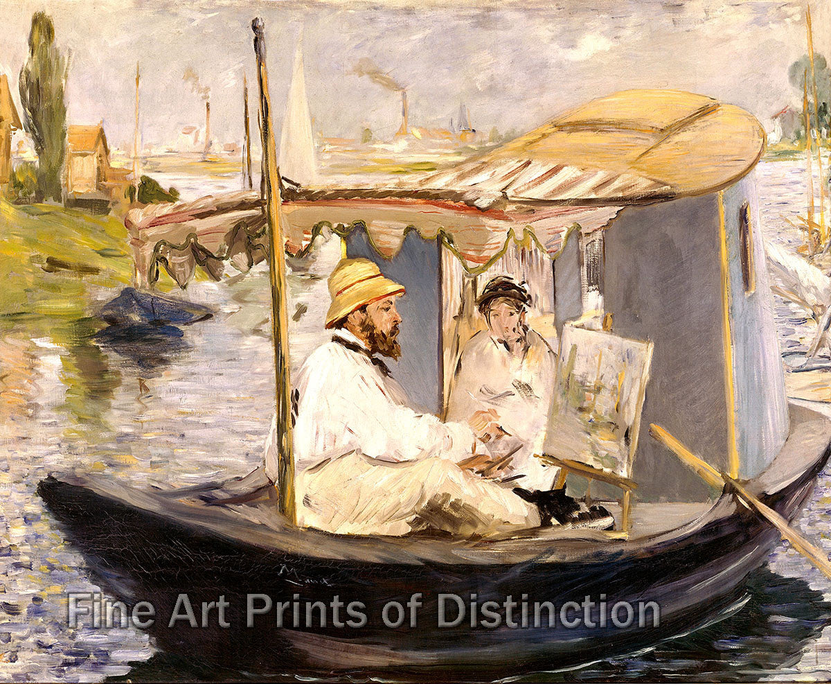 Monet Working on his Boat at Argenteuil by Edouard Manet