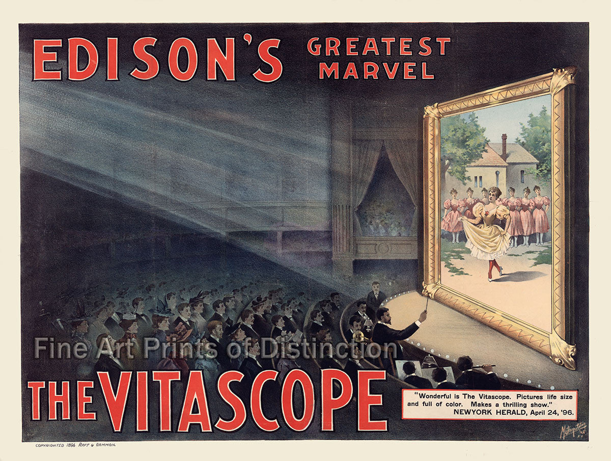 Edison's Greatest Marvel the Vitascope Fine Art Print
