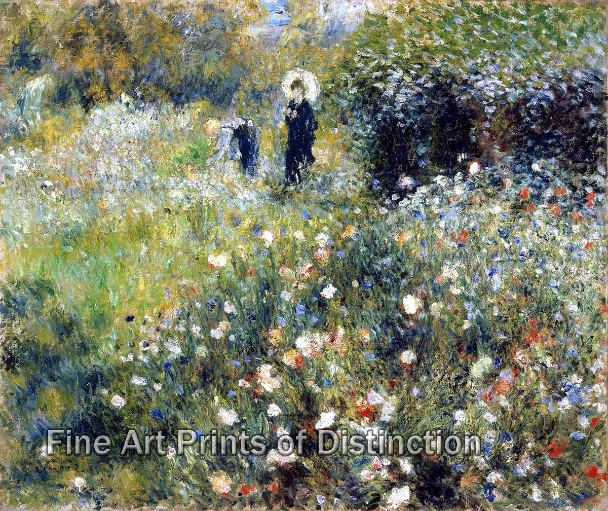 Woman with a Parasol in a Garden by Pierre Auguste Renoir