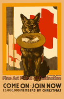 World War I Poster Join Red Cross with Dog Holding Hat