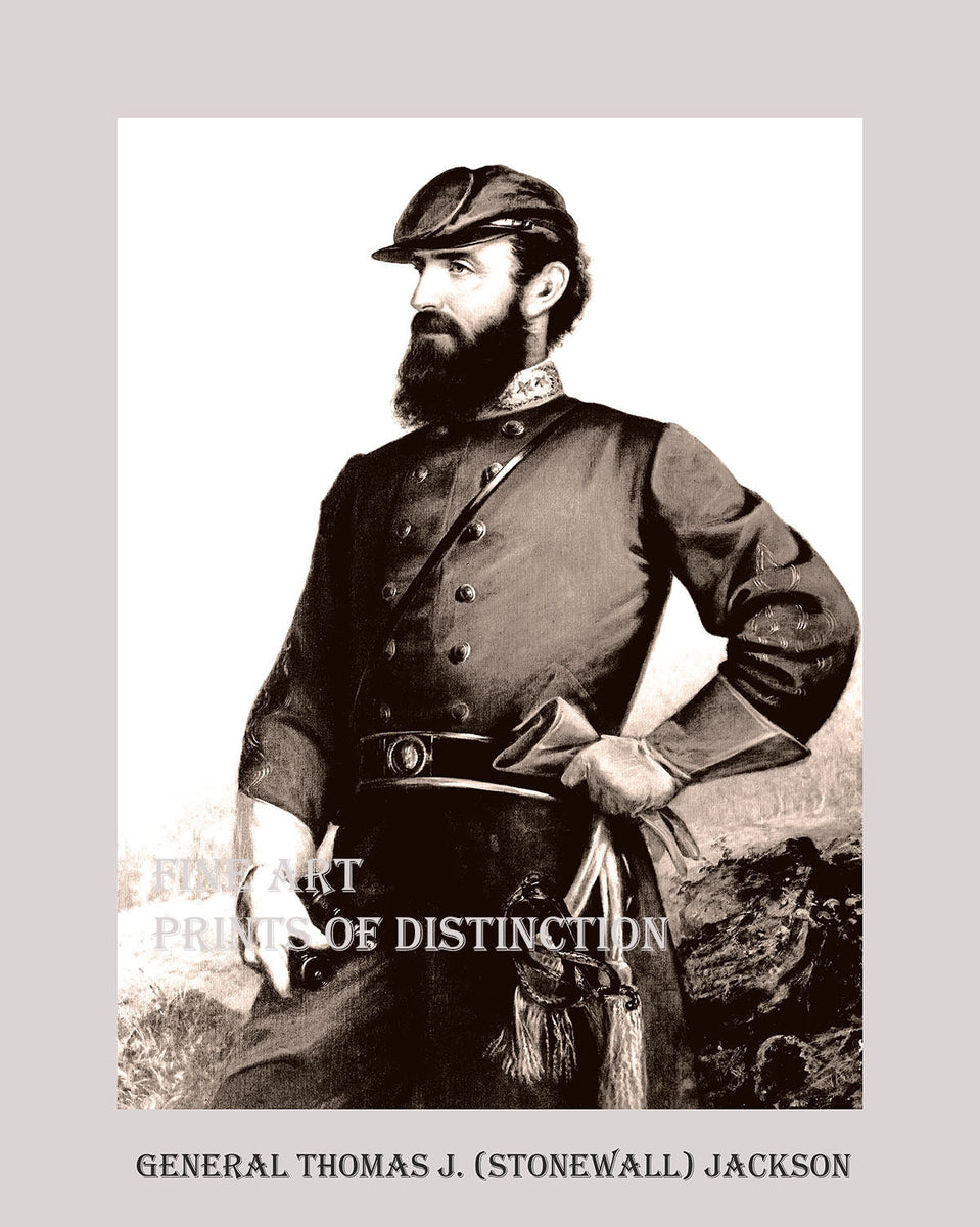 Thomas J. Stonewall Jackson three quarters portrait in poster style