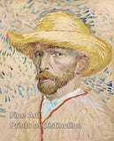 Self Portrait with a Straw Hat by Vincent Van Gogh
