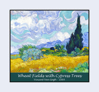 Wheat Fields with Cypress Trees painted by Vincent Van Gogh premium poster
