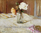 Roses in Glass Vase by Edouard Vuillard