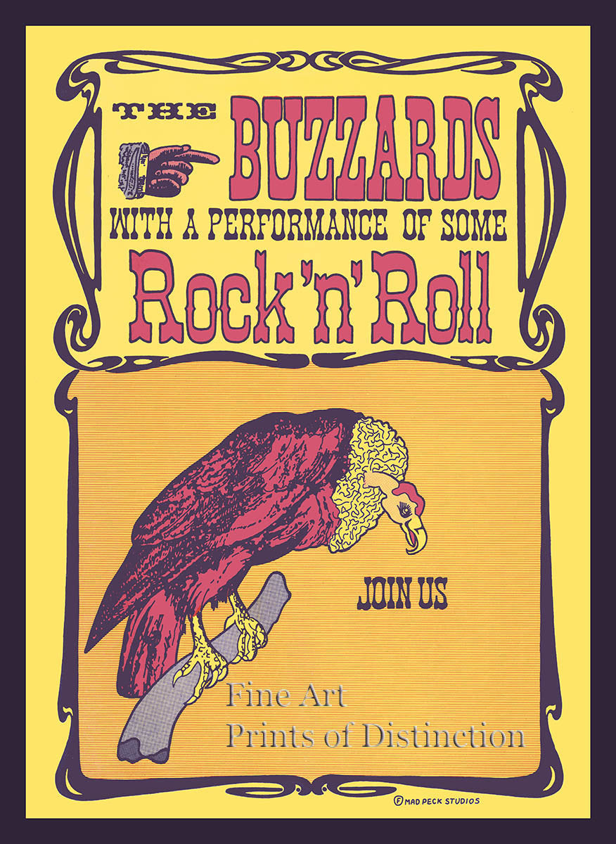 Buzzards Rock and Roll Advertising Poster