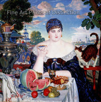 Merchant's Wife at Tea by Boris Kustodiev Art Print