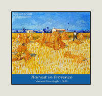 Harvest in Provence painted by Vincent Van Gogh Premium Poster