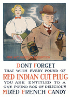 Red Indian Cut Plug Tobacco Advertising Art Print