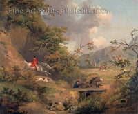 Fox Hunting in Hilly Country by George Morland
